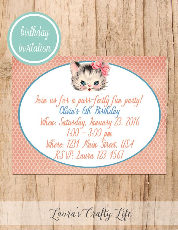 Kitten birthday party invitation lauras crafty life kitten birthday party invitation filmwisefo Image collections