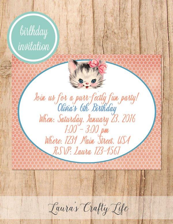 Kitten Birthday Party Invitation