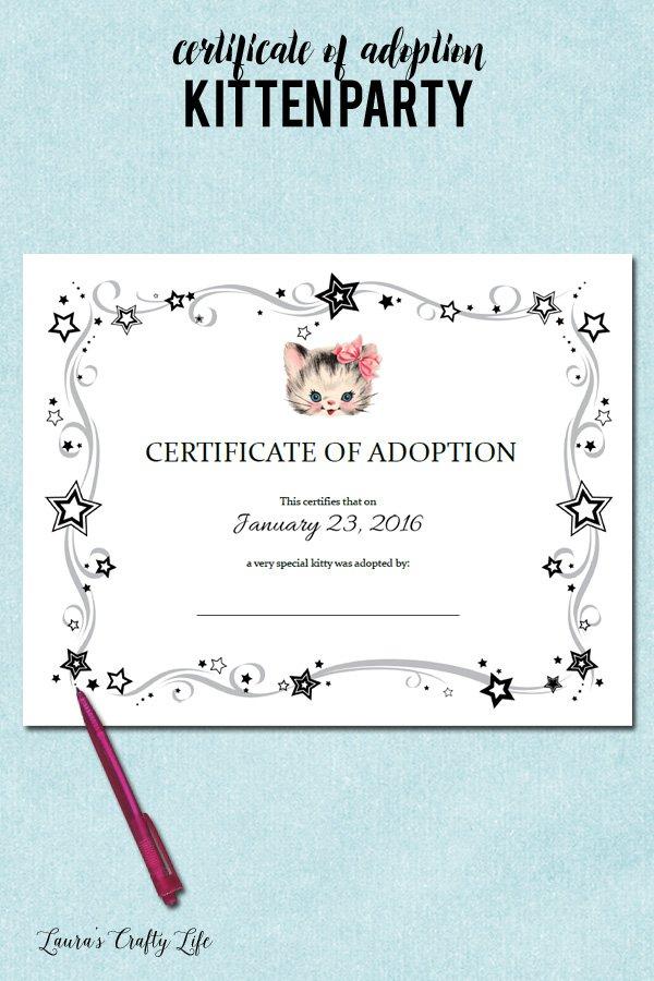 Kitten adoption certificate - kitten birthday party