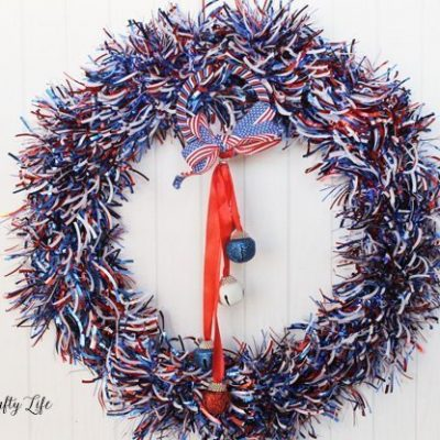 Patriotic wreath from Dollar Tree supplies