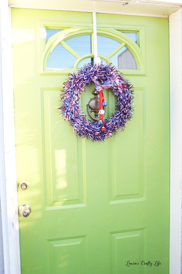 Patriotic wreath on my front door