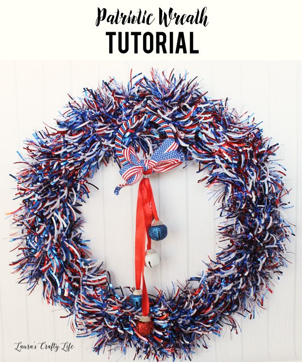Patriotic wreath tutorial - easy and inexpensive red white and blue wreath for Memorial Day Labor Day or 4th of July