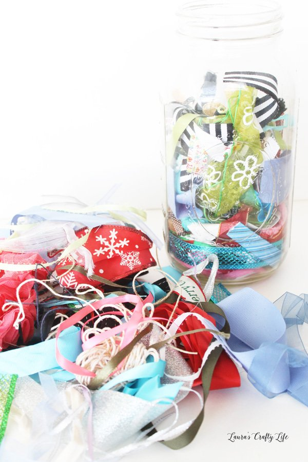 Place all your ribbon scraps in a large mason jar