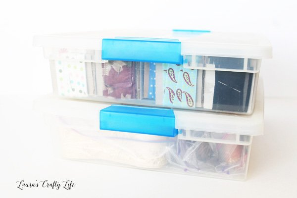 Plastic storage bins to store ribbon