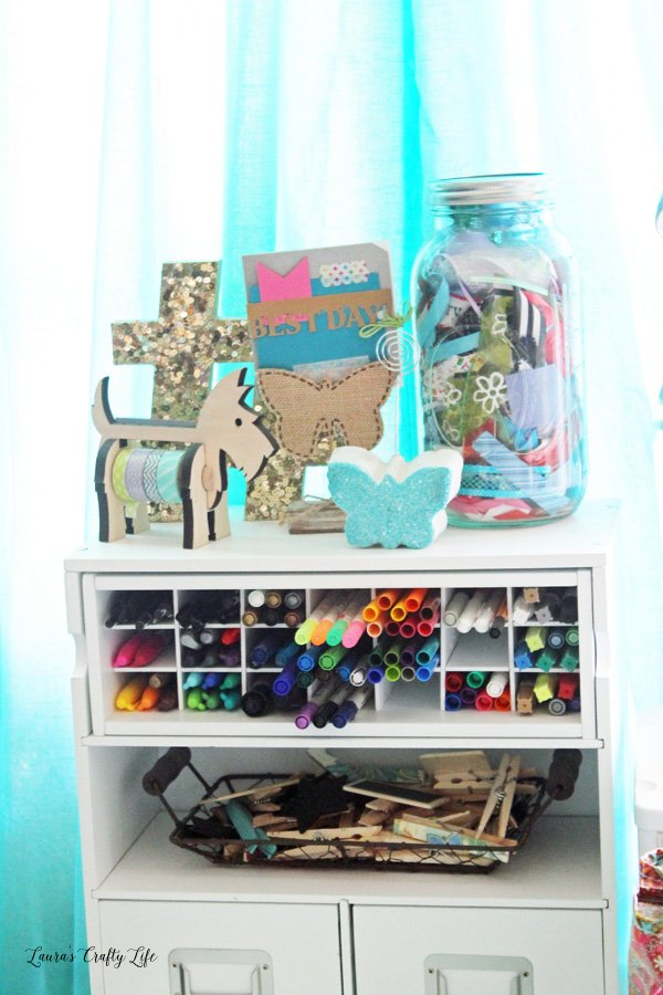 Ribbon scrap storage in craft room