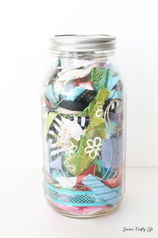 Ribbon scraps storage in a mason jar