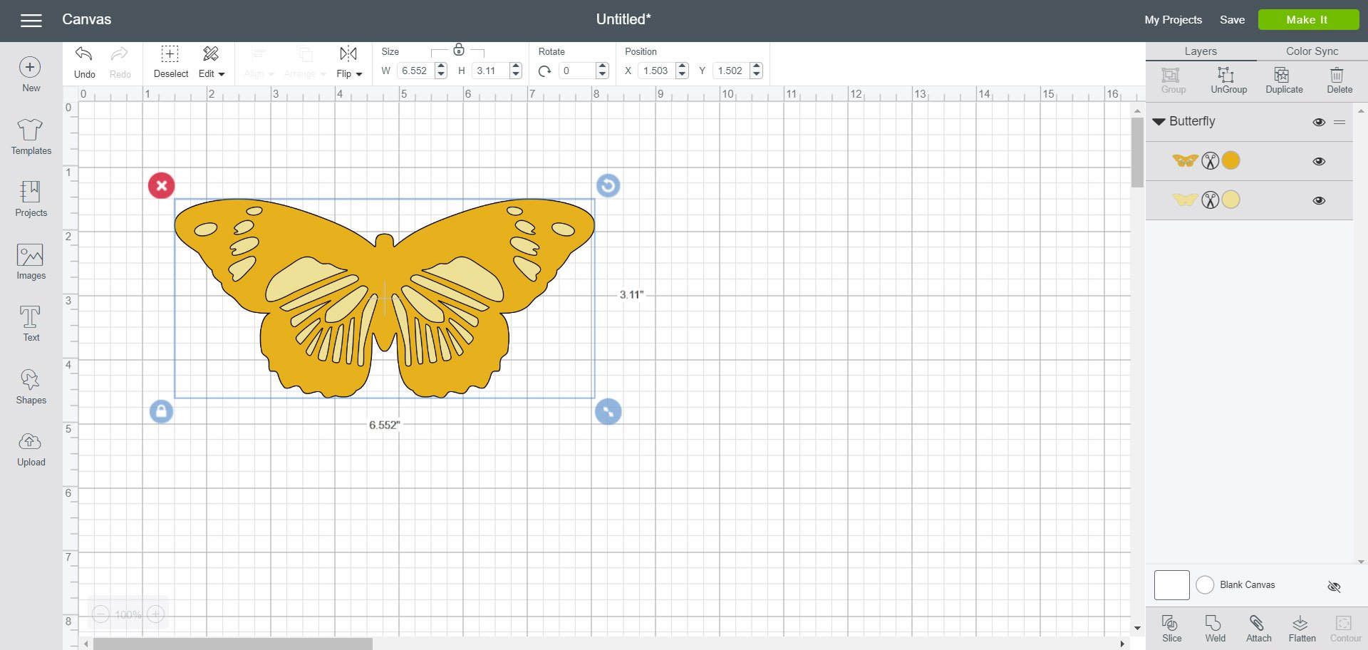 Cricut Design Space - butterfly image added to canvas