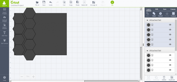 Cricut Design Space - add five more hexagons