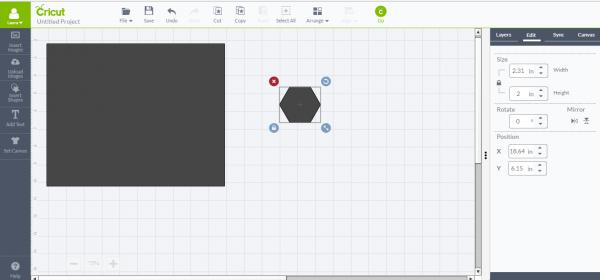 Cricut Design Space - add hexagon