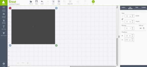 Cricut Design Space - add rectangle