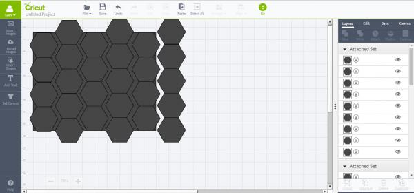 Cricut Design Space - copy and paste hexagons