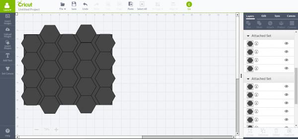 Cricut Design Space - delete row of hexagons