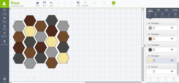 Cricut Design Space - faux leather hexagons