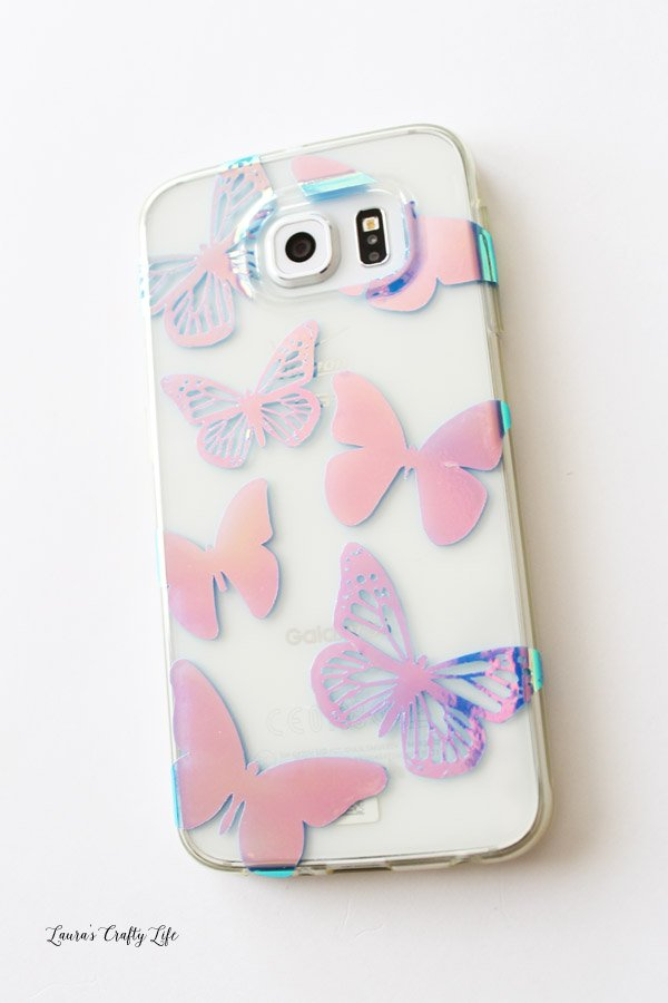 Custom Holographic Phone Case with Cricut - Laura's Crafty Life