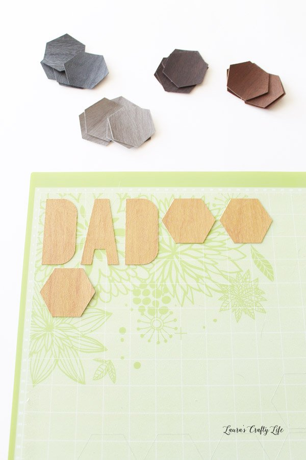 Cut out faux leather hexagons with Cricut Explore