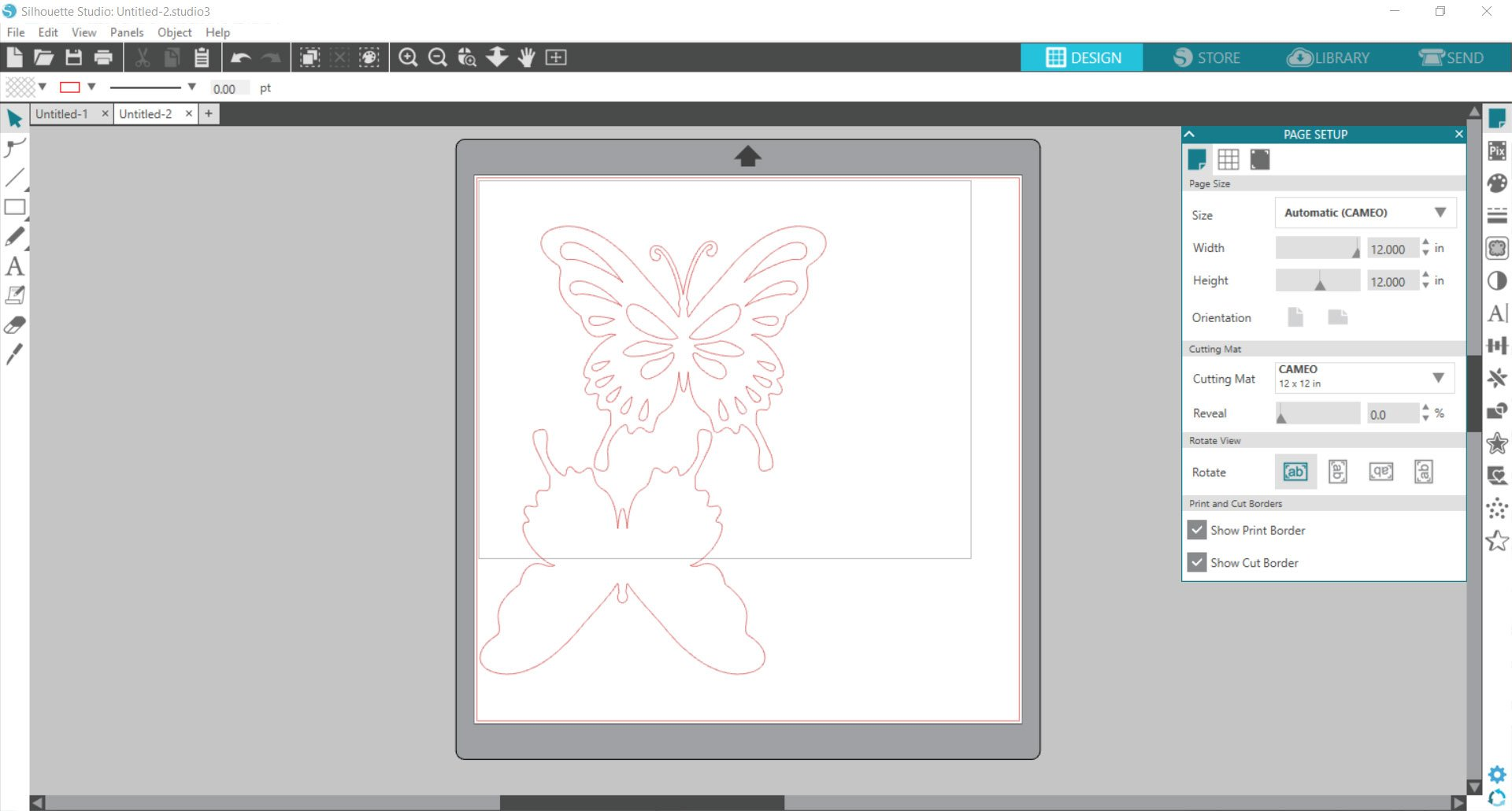 Silhouette Studio - butterfly image added to canvas