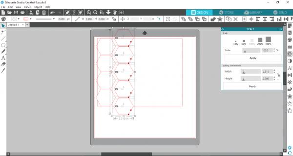 Silhouette Studio - create a row of 5 hexagons