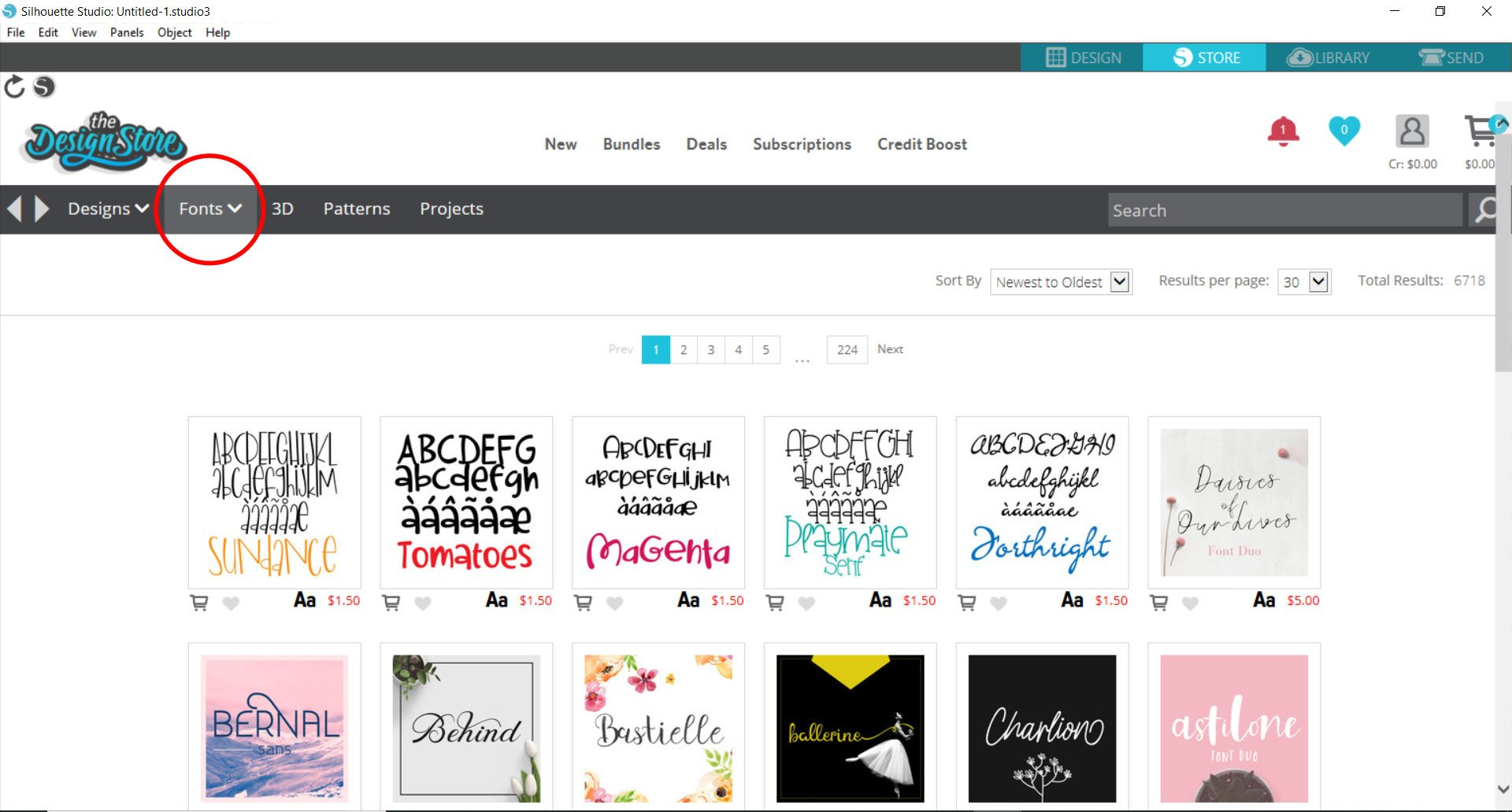 Silhouette Studio - fonts in store