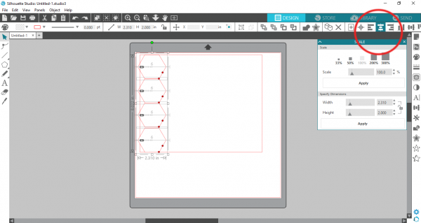 Silhoutte Studio - align hexagons
