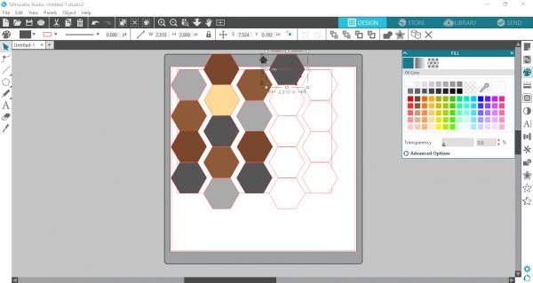 Silhoutte Studio - color hexagons