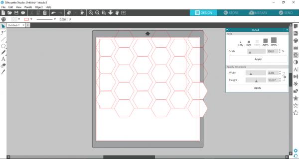 Silhoutte Studio - duplicate hexagons to fill rectangle