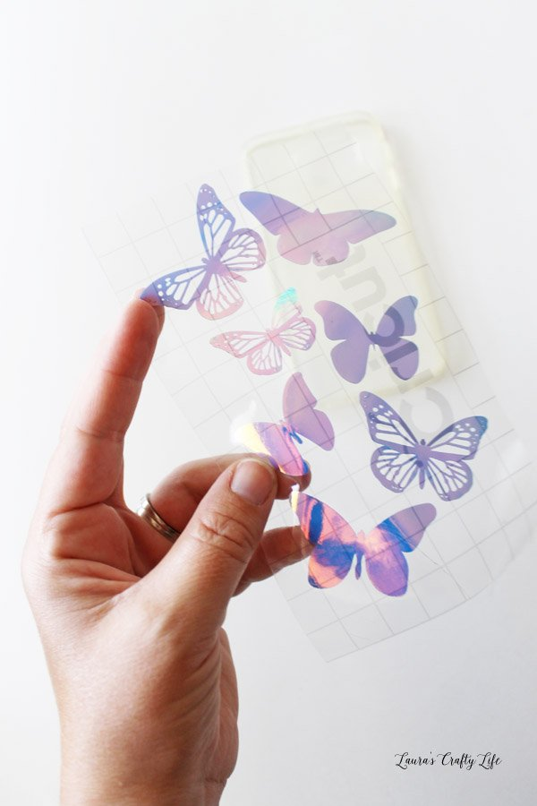 Use transfer tape to transfer vinyl design