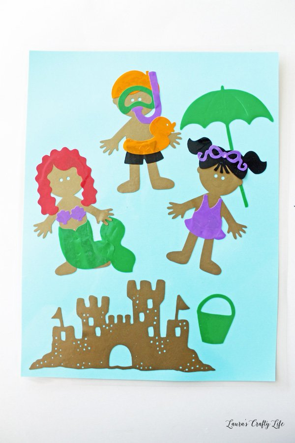 Beach window cling dolls