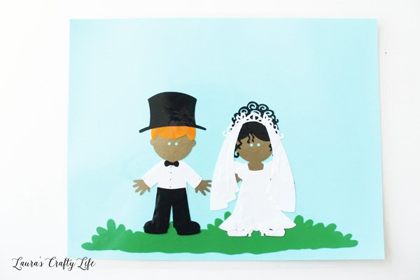 Bride and groom window cling dolls