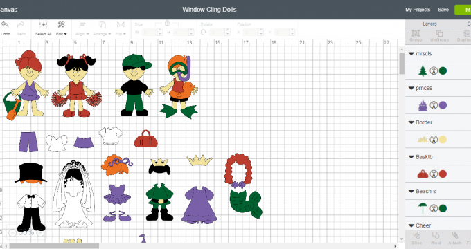 Cricut Window Cling Paper Dolls