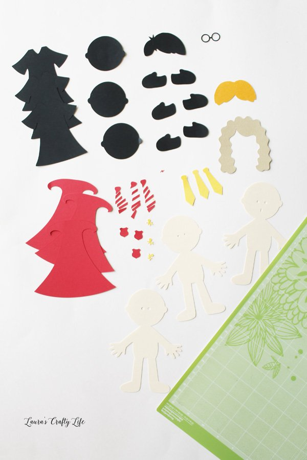 Cut out pieces for Harry Potter bookmarks