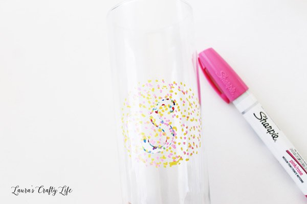 Dot marker around monogram letter stencil