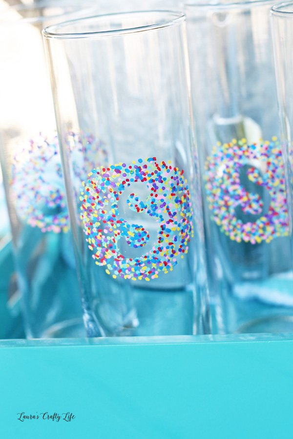 Dotted Monogram Tall Glass