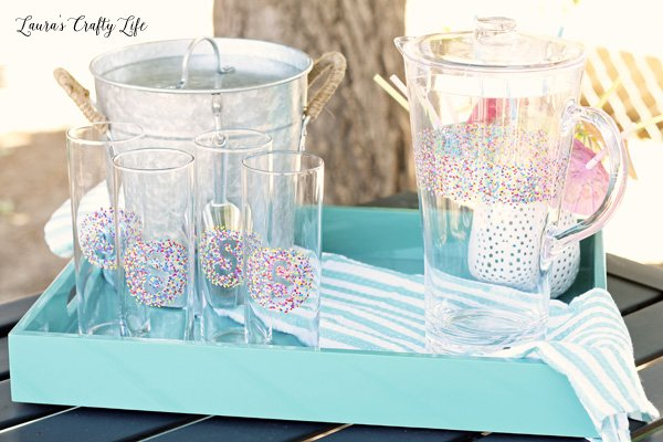 Dotted Tall Glasses and Pitcher