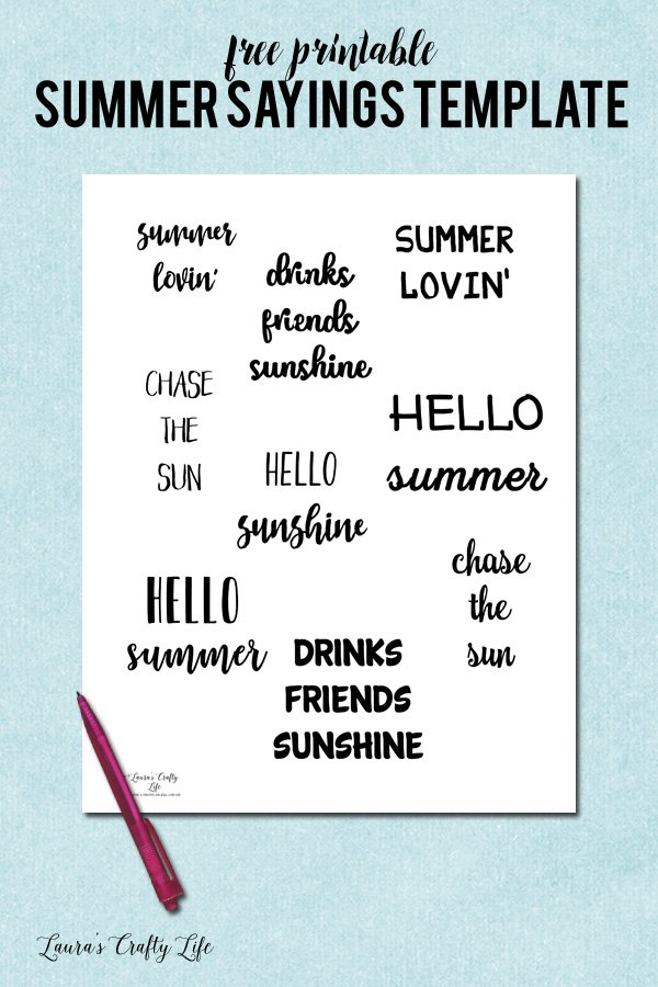Free Printable Hand Lettered Summer Sayings Template