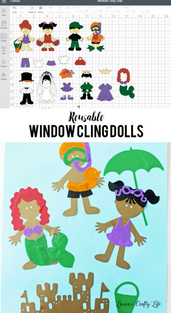 Reusable Window Cling Dolls made with Cricut
