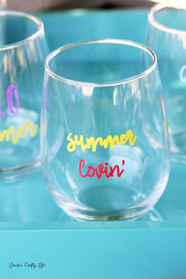 Summer Sayings Glass - summer lovin