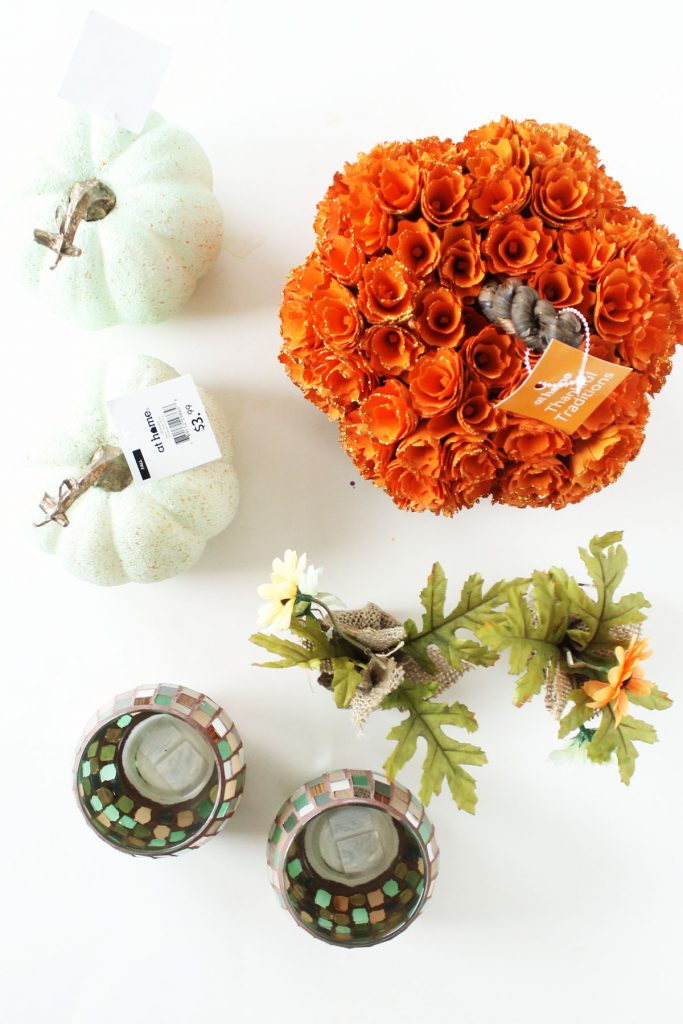 At Home Fall tablescape supplies - floral pumpkin, candle holders, burlap flowers