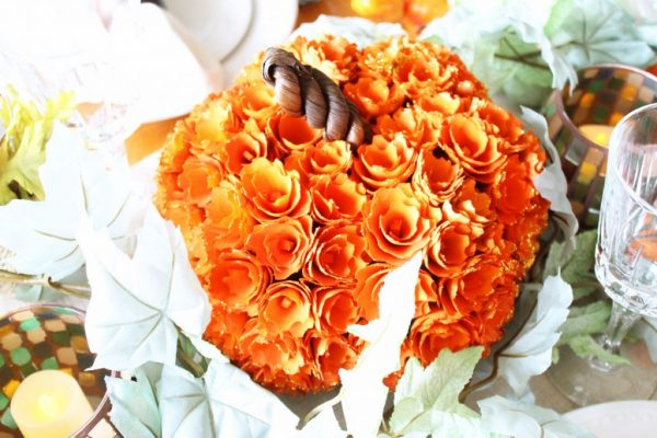 At Home fall tablescape - floral pumpkin