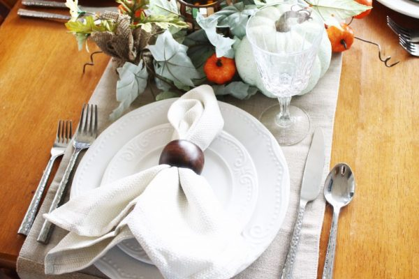 At Home fall tablescape - place setting