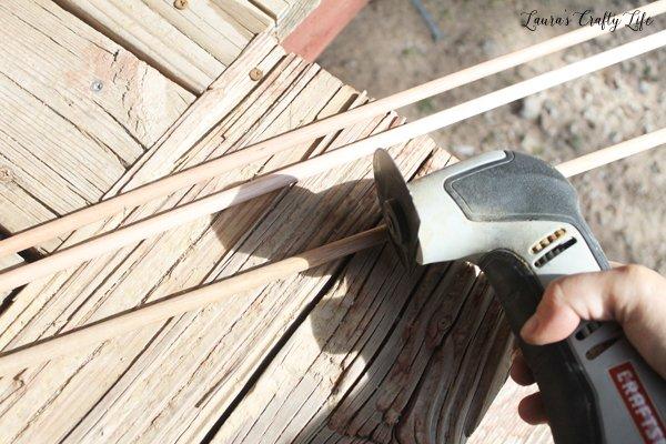 Cut dowel rod