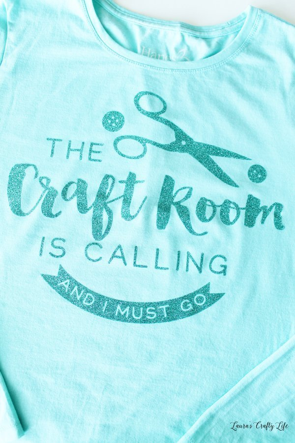 Glitter iron-on vinyl t-shirt - The craft room is calling and I must go