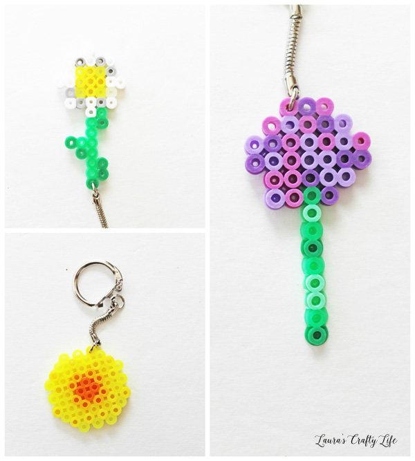 Minecraft Flowers Perler Bead Keychains - sunflower, oxeye daisy, allium