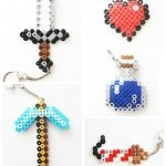 Minecraft PMinecraft Perler Bead Keychains - iron sword, diamond pickaxe, heart, firwork rocket, water bottle