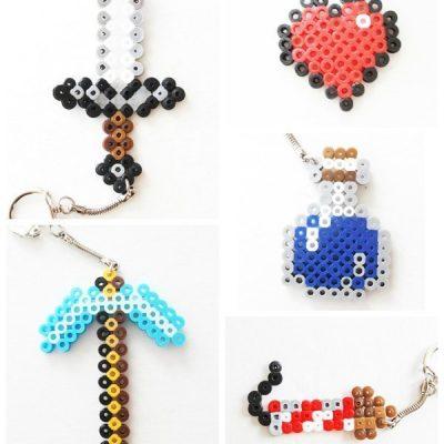 Minecraft Perler Bead Keychains - iron sword, diamond pickaxe, heart, firework rocket, water bottle