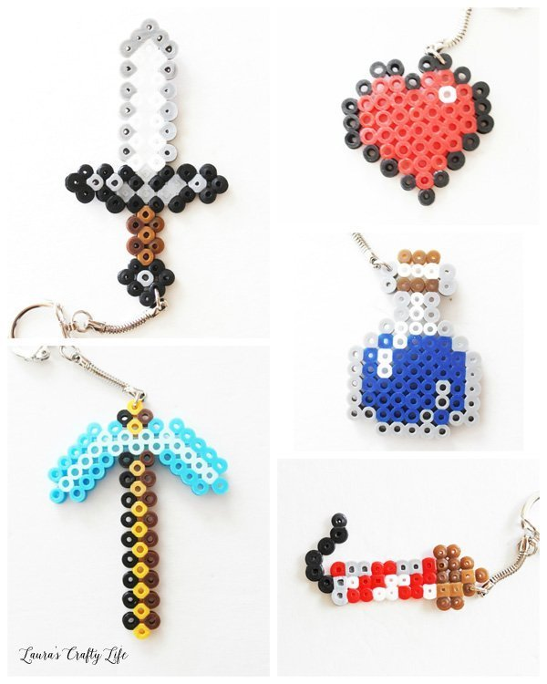 Minecraft Perler Bead Keychains - iron sword, diamond pickaxe, heart, firework rocket, water bottle