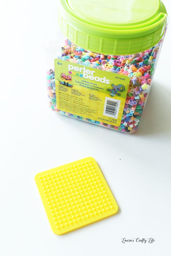 Perler beads and square pegboard
