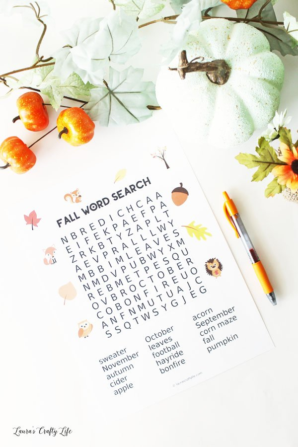 Fall Word Search - perfect for teachers and homeschoolers