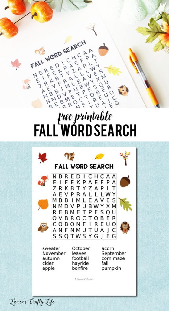Free Printable Fall Word Search with answer key