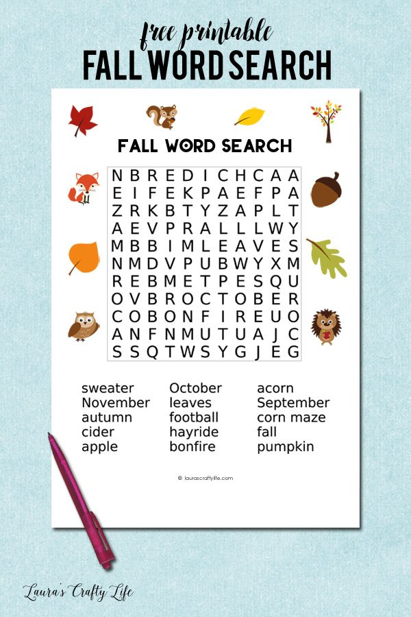 photo regarding Fall Word Search Printable named Drop Term Seem - Lauras Cunning Lifestyle