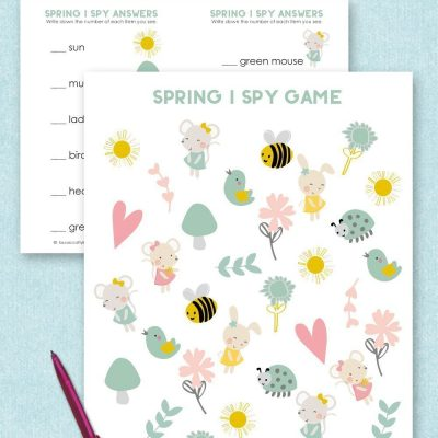 Free printable Spring I Spy game and answer sheet